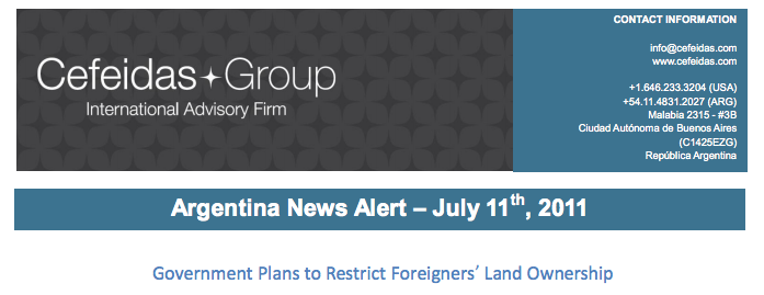 Argentina News Alert – Government Plans to Restrict Foreigners' Land Ownership