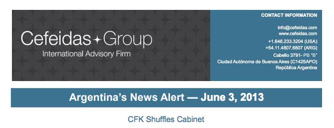 Argentina News Alert – Cristina Fernández de Kirchner Shuffles Cabinet