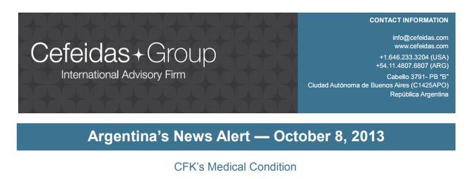 Argentina News Alert – Cristina Fernández de Kirchner's Health Condition