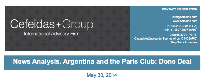 Argentina News Alert – Argentina and the Paris Club: Done Deal