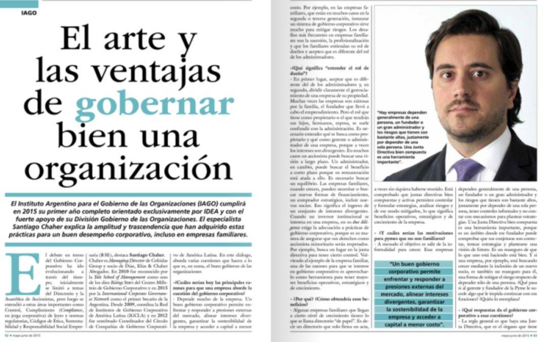 Managing Director de Cefeidas entrevistado por IDEA sobre las ventajas del buen Gobierno Corporativo