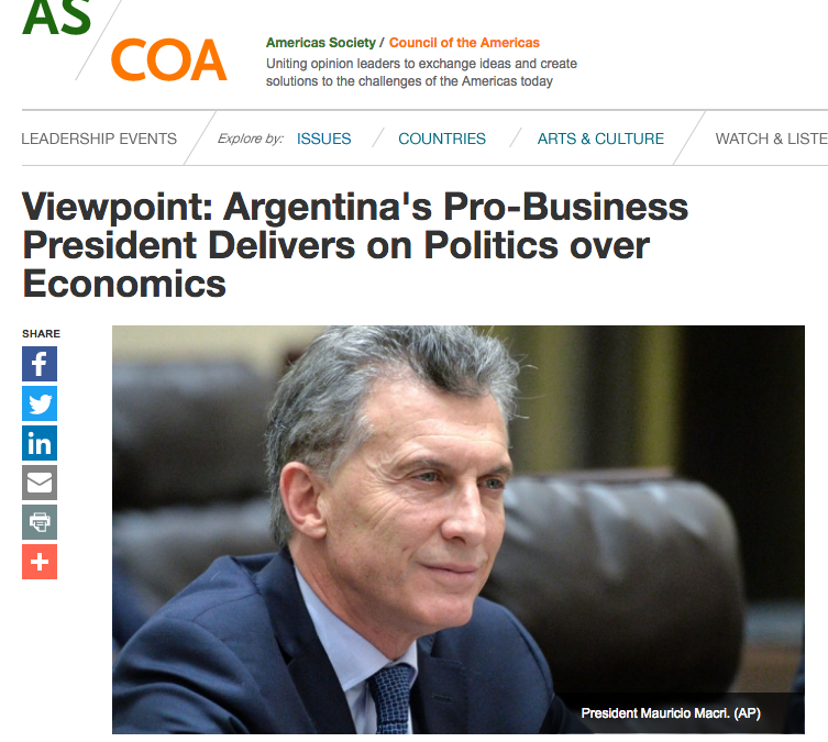 Argentina's Pro-Business President Delivers on Politics over Economics