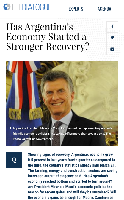 Cefeidas Group's Managing Director comments for the Latin American Advisor on Argentina's economy