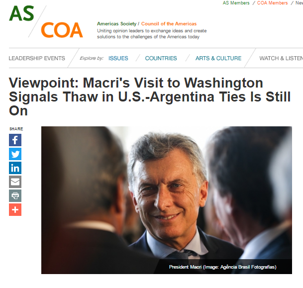 Macri's Visit to Washington Signals Thaw in U.S.-Argentina Ties Is Still On