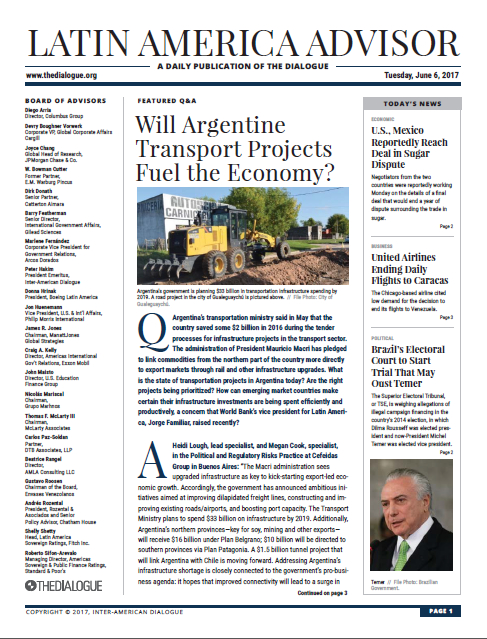 Cefeidas Group's political risk specialists comment for the Inter-American Dialogue on infrastructure plans