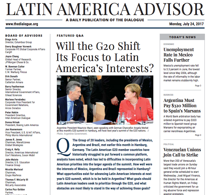Cefeidas Group's lead political risk specialist and managing director comment for the Inter-American Dialogue on Argentina's G20 presidency