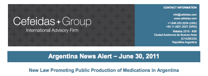 Argentina News Alert – New Law Promoting Public Production of Medications in Argentina