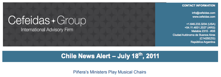 Chile News Alert – Piñera's Ministers Play Musical Chairs